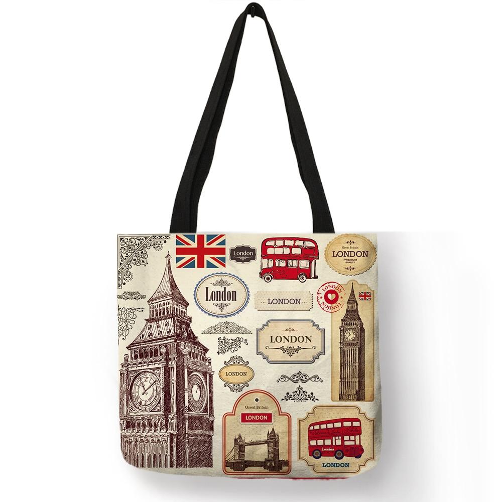 Large Capacity Reusable Folding Shopping Bag British Style London Landscape Pattern Print Women Handbag Shoulder Bags B10096
