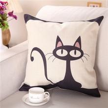 1pc Geometric Cushion Cover Black White Linen Pillow Case 45x45 40x40 Cat Print Geometric Art Decorative Pillows Cover housse de