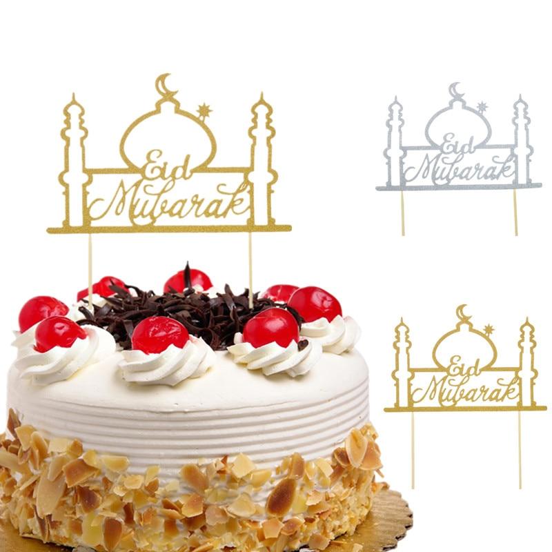 Cake Toppers Eid Mubarak Wedding Baby Shower Birthday Party Ramadan Decor Gold Black 8 Style Cupcake Topper Muslim Eid Baking