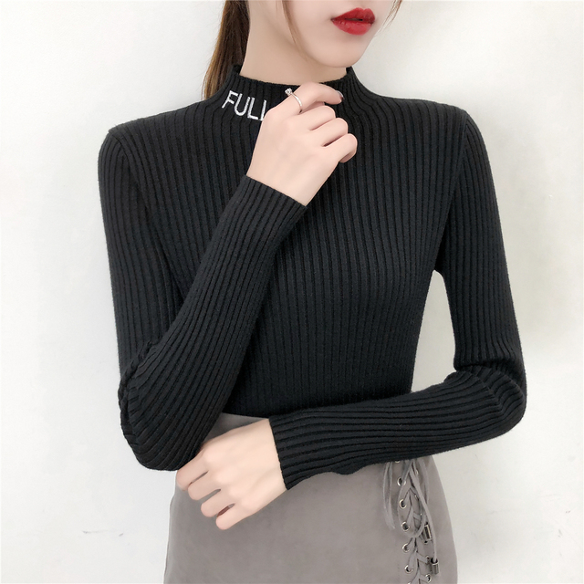 3b9ca81eb4 Women s Slim Half Turtleneck Cashmere Knit Sweater Elastic Cashmere 2018  Winter Embroidery Letters Lady Knitted Bottoming Tops