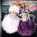 Free Shipping Monchichi Keychain Full Rhinestone Pompons Keychains 2016 New Women Car  Key Chain Ring Girls Handbag Key Holder