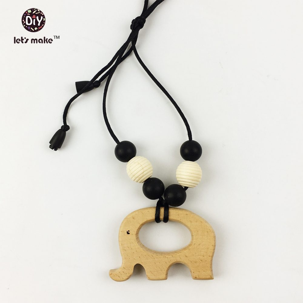 wooden Teething Necklace elephant shaped Baby Chewlery silicone beads Sensory infant teether holder/toys new mom Nursing jewelry