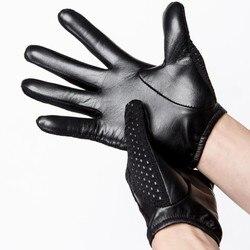 2019 sommer Sonne Schutz leder Handschuhe Männlichen Dünnen Atmungsaktiv Anti-Slip Fahren Handschuhe Anti-Uv Volle Finger Mann Fäustlinge
