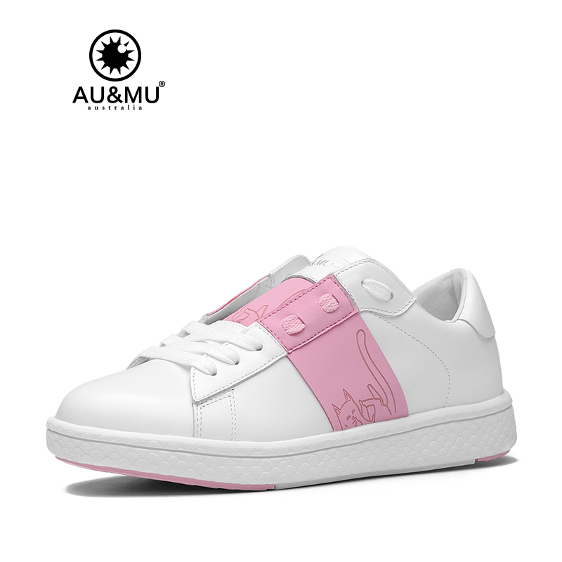 2018 AUMU Australia Urbanity Finger Cat Pattern Casual All-white Shoes G913 2018 aumu australia rhinestone shiny