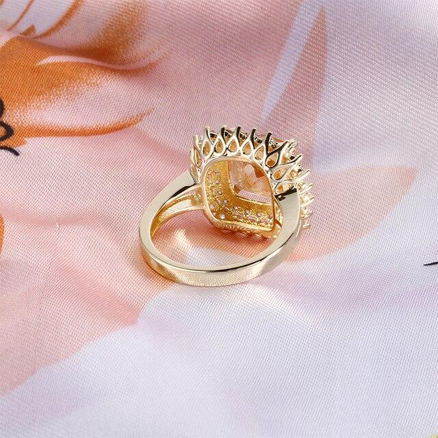 925 Anelli Dell'argento sterlina per Le Donne Solitaire Cuscino Giallo Naturale Citrino CZ Wedding Engagement Fine Jewelry regalo di San Valentino