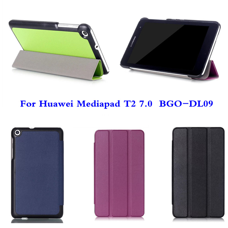 CY Slim Karst Tri-Fold Folio PU Leather With magnetic Stand Case Flip Cover For Huawei MediaPad T2 7.0 BGO-DL09 Tablet PC