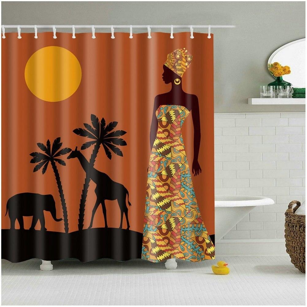 CHARMHOME Bathroom Shower Curtain Sunset African Woman ...