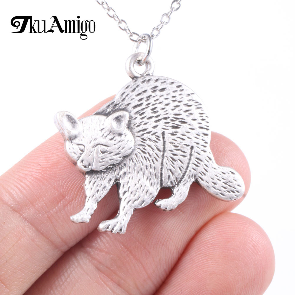Brilliant Raccoon Necklace Metal Animal Rescue Jewelry Wildlife Lover A168 35*27mm
