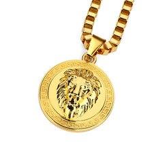 Hot Fashion Lion Head Round Pendant Necklace Hip Hop Item Fashion Men and Women Necklace Wholesale