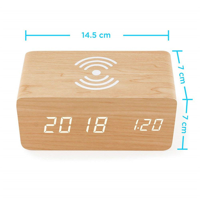 Wooden Alarm Clock With Qi Wireless Charging Pad Compatible With For Iphone Samsung Wood Led Digital Clock Sound Control Funct 1