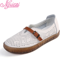 2019 Hollow Out Summer Leather Women Loafers Shoes Comfortable Soft Flat Bottom Buckle Round Toe Casual Shoes Women Nysiani 2017 women loafers lady ballerina flat shoes woman summer flats hollow out comfortable soft leather loafers 5m