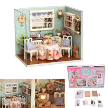 1 Set DIY Mini House Handmade Wooden Cute Kitchen Model With Furnitures Kids Toy