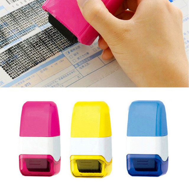 1Pcs Guard Your ID Roller Stamp SelfInking Messy Code Security Office RANDOM COLOR