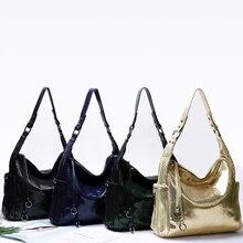 Genuine Leather Messenger Bag Gold