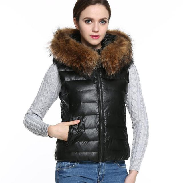 CharmDemon Autumn and Winter Women Hooded Down Vest Jacket with Fur Collar  Sleveless Coat Outwear dr14