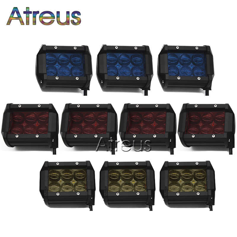 10 Pcs 18 W Mobil LED Light Bar 12 V Spot Merah Kuning Biru 4D Lens DRL Untuk Jeep ATV 4X4 Truk Trailer Offroad Lampu Kabut Sepeda Motor