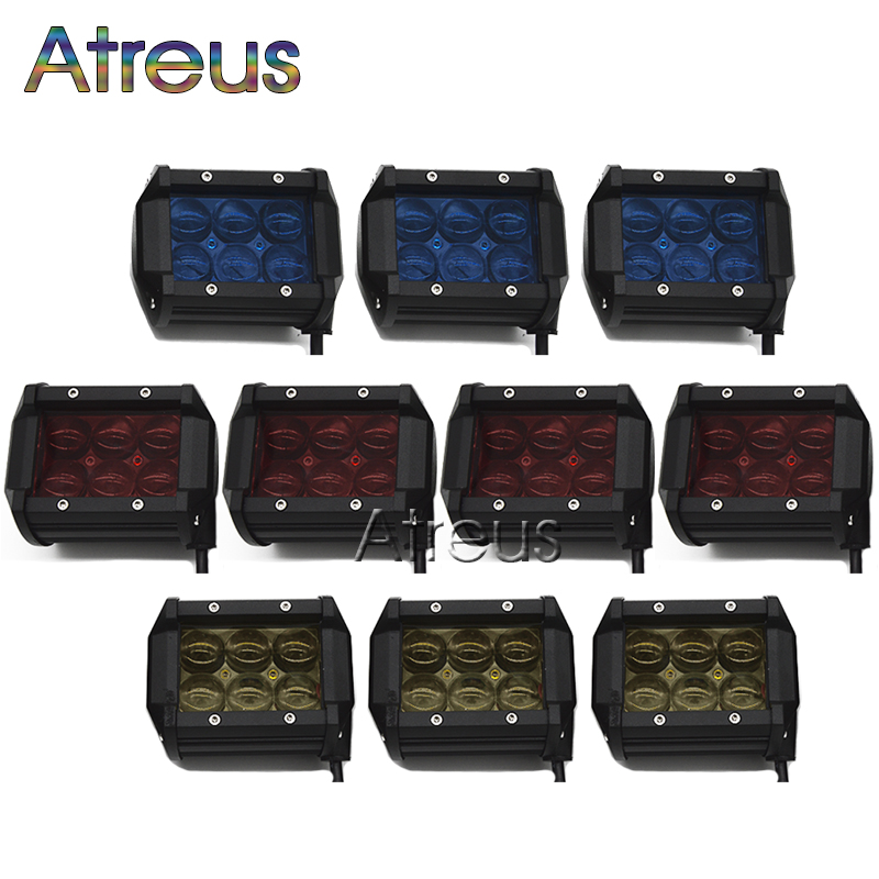 10pcs 18w car led light bar 12v spot red yellow blue 4d lens drl for 10pcs 18w car led light bar 12v spot red yellow blue 4d lens drl for jeep atv 4x4 truck offroad trailer motorcycle fog lights in car light assembly from aloadofball Image collections