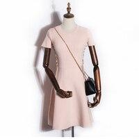 2017 Fashion Dress The New High Waist Elastic Pure Color Knitting Dress Female Punk Black Gothic
