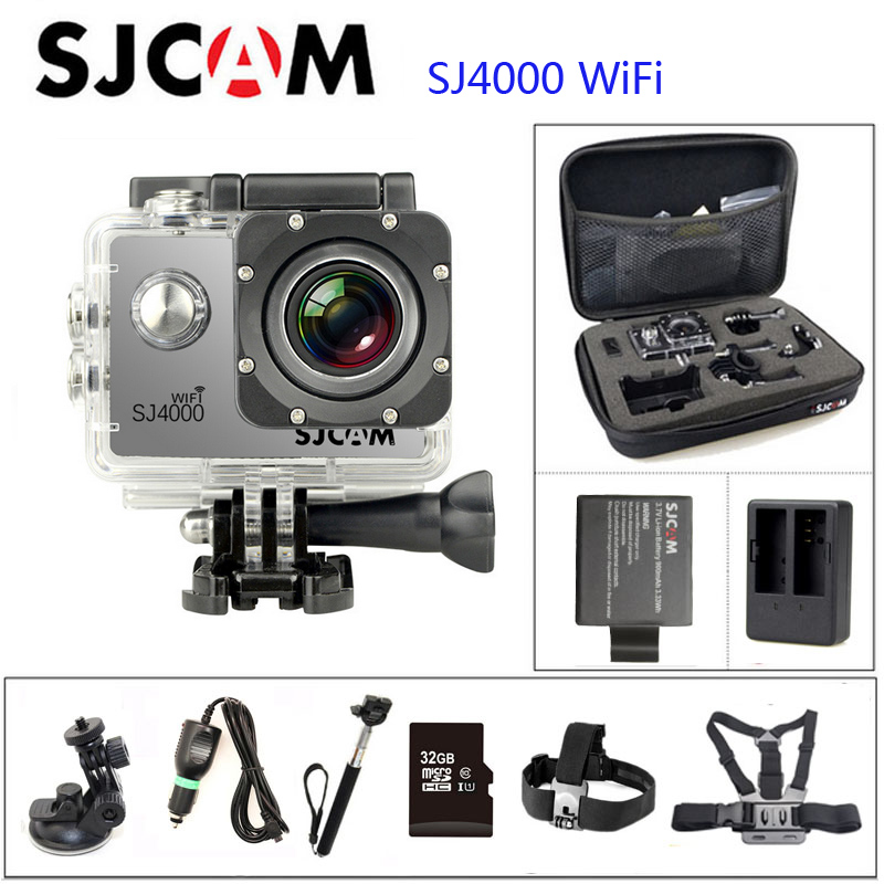SJCAM Original SJ4000 WIFI Action Camera Diving 1080P HD 2.0 30M Waterproof Camera Underwater 1080P Sport  Camera Connector Set original sjcam sj4000 wifi 2 0 lcd action camera full hd 1080p waterproof sport camera diving 30m waterproof beter gopro camera