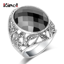 Kinel Luxury Oval Black Stone Ring For Women Silver Color Hollow Crystal Flower Big Rings Wedding Party Jewelry