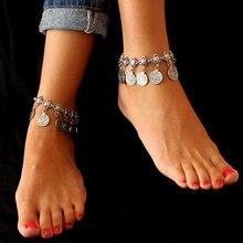 Silver Color Bohemian Metal Tassel Luxury Charm Vintage Commemorative coins Pendants Anklet Bracelet For Women Jewelry AT006