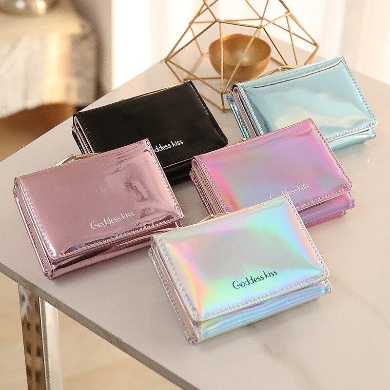 작은 여성 지갑 짧은 지갑 레이디 편지 레이저 지갑 짧은 클러치 솔리드 여성 지갑