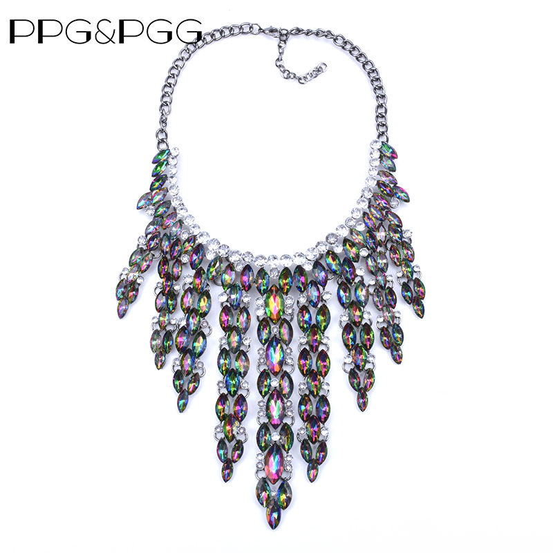 PPG&PGG 2019 New collar trendy fashion metal flower crystal tassel costume choker chunky statement NecklacePPG&PGG 2019 New collar trendy fashion metal flower crystal tassel costume choker chunky statement Necklace