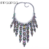PPG PGG 2017 New Collar Trendy Fashion Metal Flower Crystal Tassel Costume Choker Chunky Statement Necklace