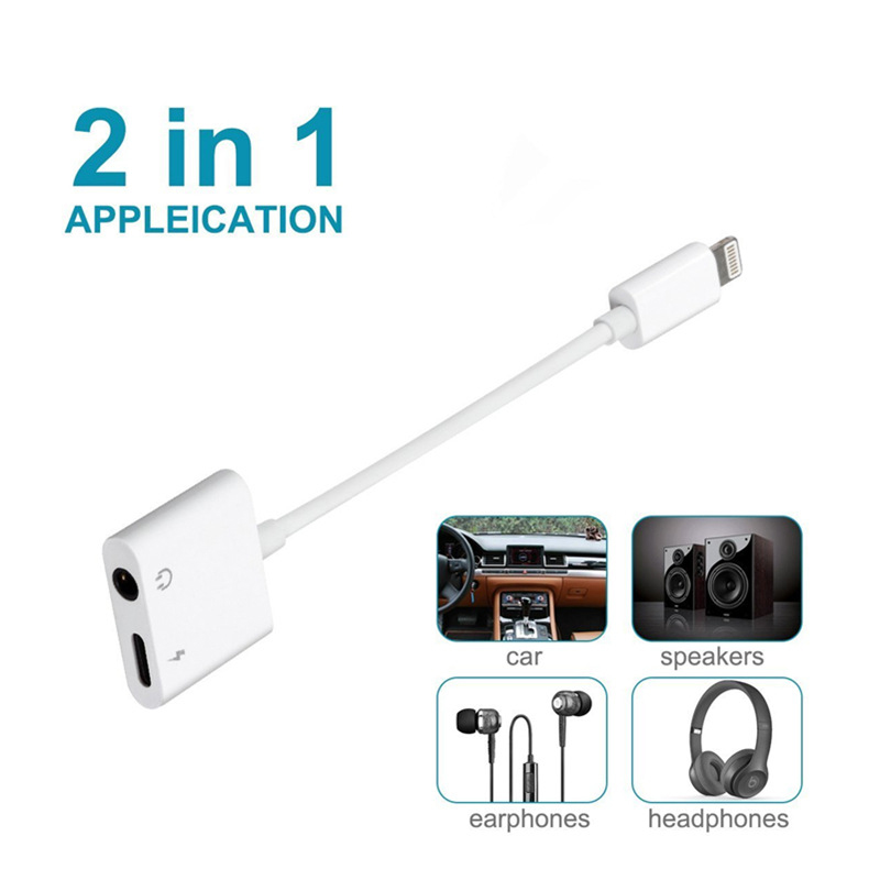 2 in1 Audio Cable Charger Adapter Splitter For iPhone7 8 Plus for Music and Charge to earphone Headphone 2 in 1 Charger Splitter