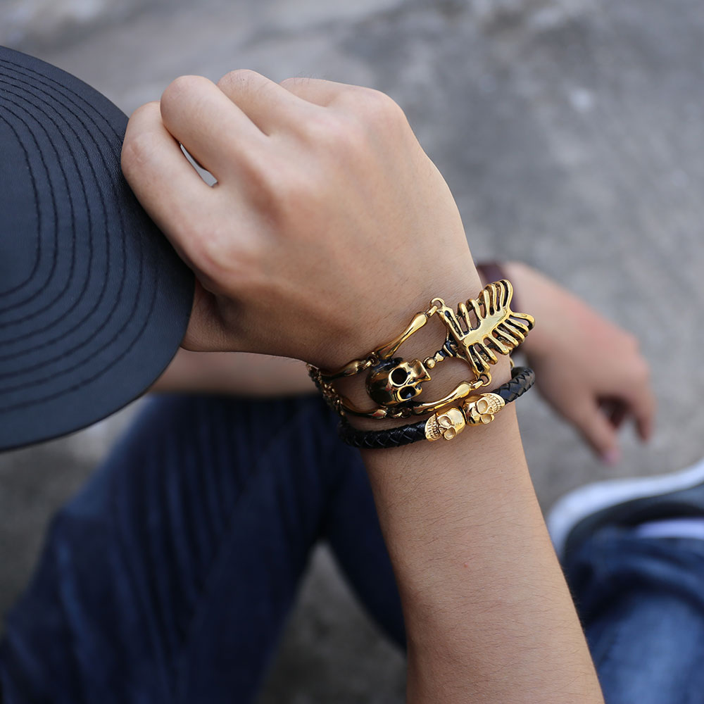 Schmuck & Zubehör Mode Gold Punk Armbänder Armreifen Für Frauen Zubehör Schädel Skeleton Hand Elastische Steampunk Armband Armreif Männer Schmuck Geschenk