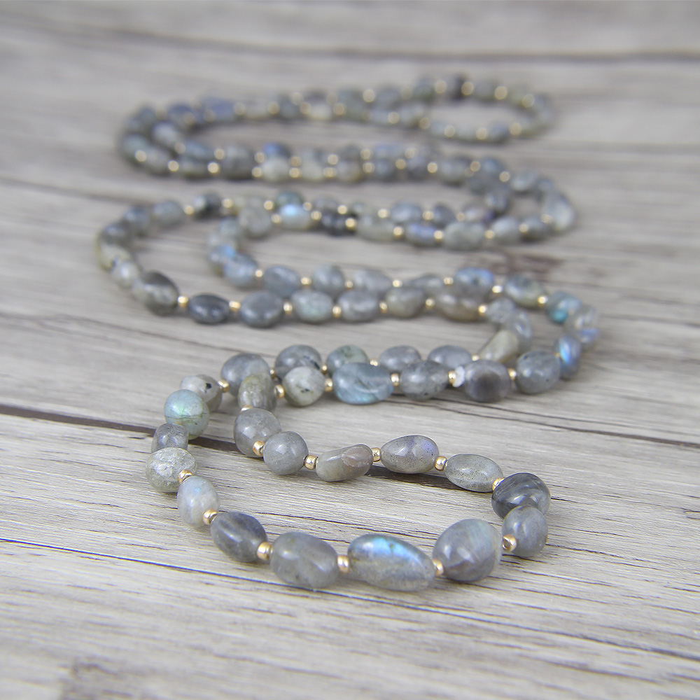 Long Bead Necklace Labradorite beads Necklace Labradorite Necklace Yoga lariat beads jewelry bohemian long bead necklace ocean grass bead necklace boho natural stone necklace gift for her yoga