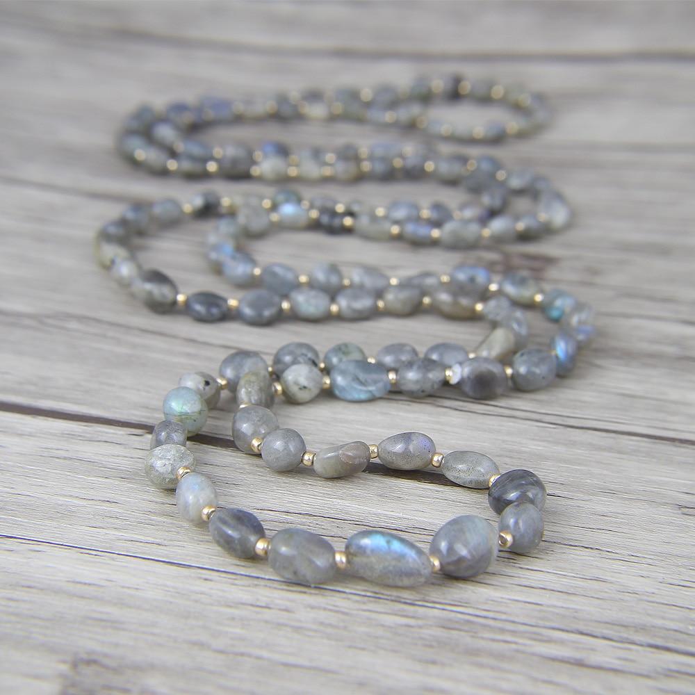 Long Bead Necklace Labradorite beads Necklace Labradorite Necklace Yoga lariat beads jewelry bohemian bohemian beads necklace and earrings