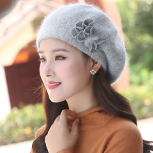 Women Beret Angora knit Hat Winter Warm Headwear Flower Casu