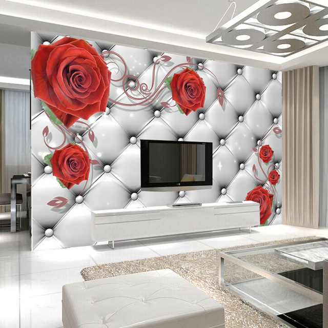 Soft Red Rose Wallpaper Hd Stereo Tv Background Bedroom Wall Mural Seamless Self Adhesive Film