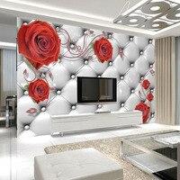 Yumuşak kırmızı gül duvar kağıdı hd 3d stereo tv arka plan duvar kağıdı yatak odası duvar mural dikişsiz kendinden yapışkanlı filmi