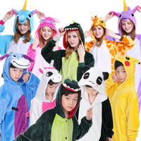 Father Mother And Daughter Son Pajamas Unicorn Dinosaur Unisex Party Cosplay Costume Animal Sleepwear Family Matching