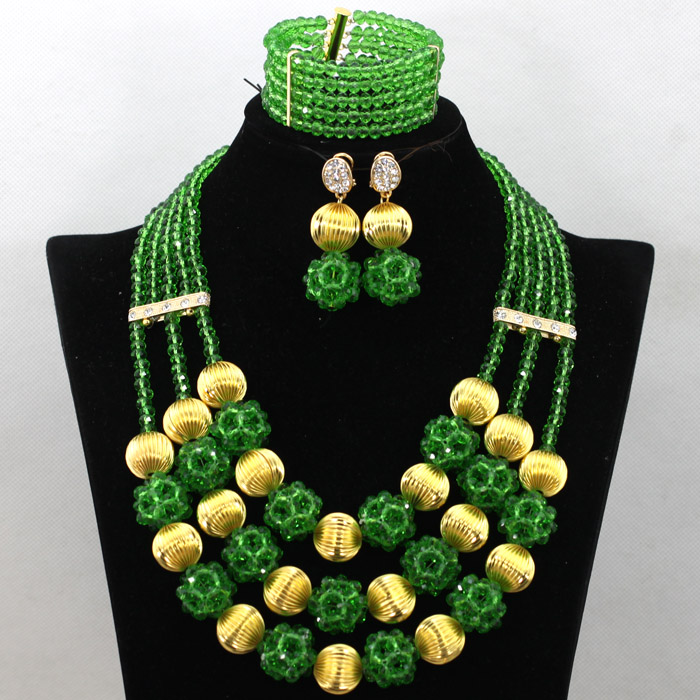 Indien cristal mariée femmes Costume bijoux ensemble mode africaine vert perles Chunky collier ensemble nouveau livraison gratuite WA525