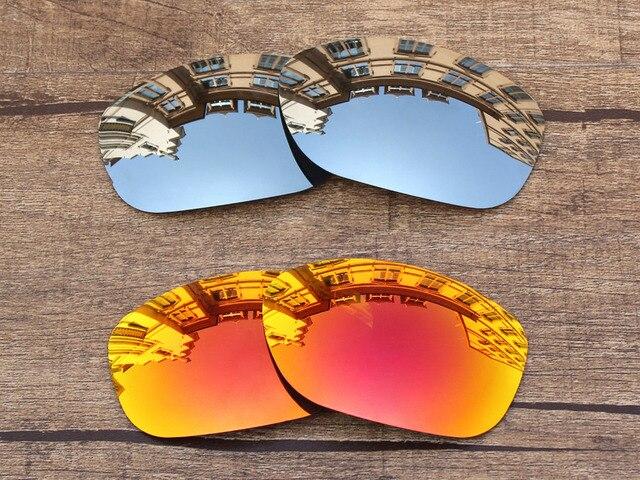 Серебристый хром и Красный Огонь 2 Пар Зеркало Поляризованных Замена линзы Для Питбуль Солнцезащитные Очки Кадр 100% UVA и UVB защита