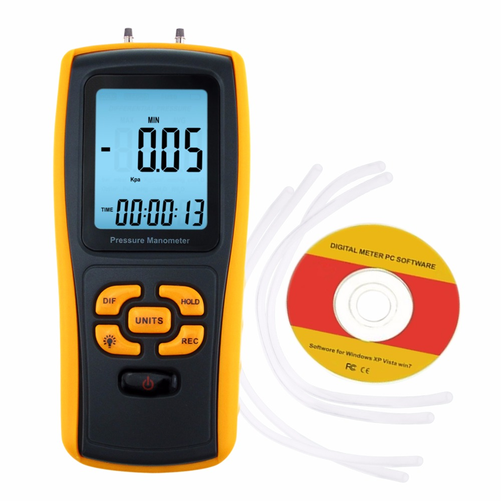 1pc battery power digital air pressure gauge gas pressure gauge tester tool 0 200psi np 60 g1 4 with vibration resistance Digital Manometer with USB Interface, 11 Measurement Units, Differential Pressure Gauge, Air Pressure Instrument Tester
