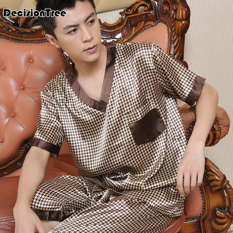 2017 summer mens silk satin pajamas pajama pyjamas set sleepwear set loungewearxl short