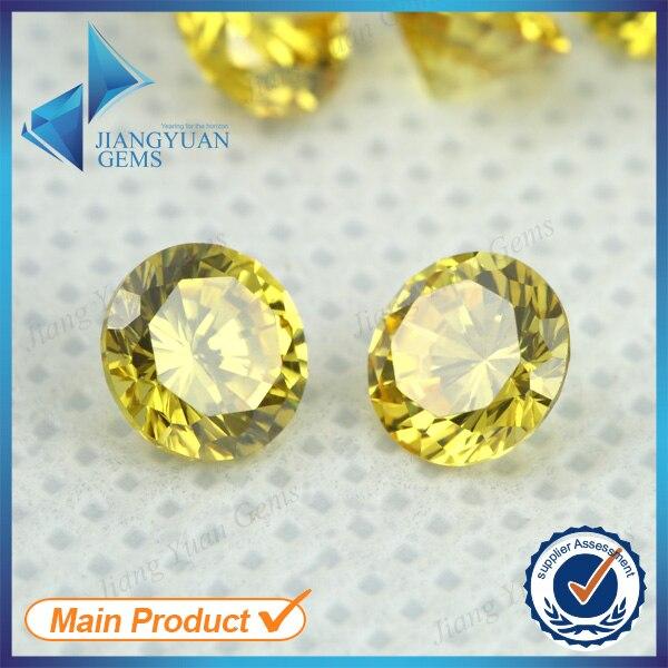 50 pcs 5A 0.8-16mm couleur jaune or zircon cubique en vrac CZ pierre ronde forme européenne Machine coupe pierre gemme synthétique