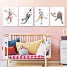Wave Point Cartoon Sport Ice Hockey Rugby Football Poster Art Print Artwork Home Wall Decor Canvas Painting for Bedroom