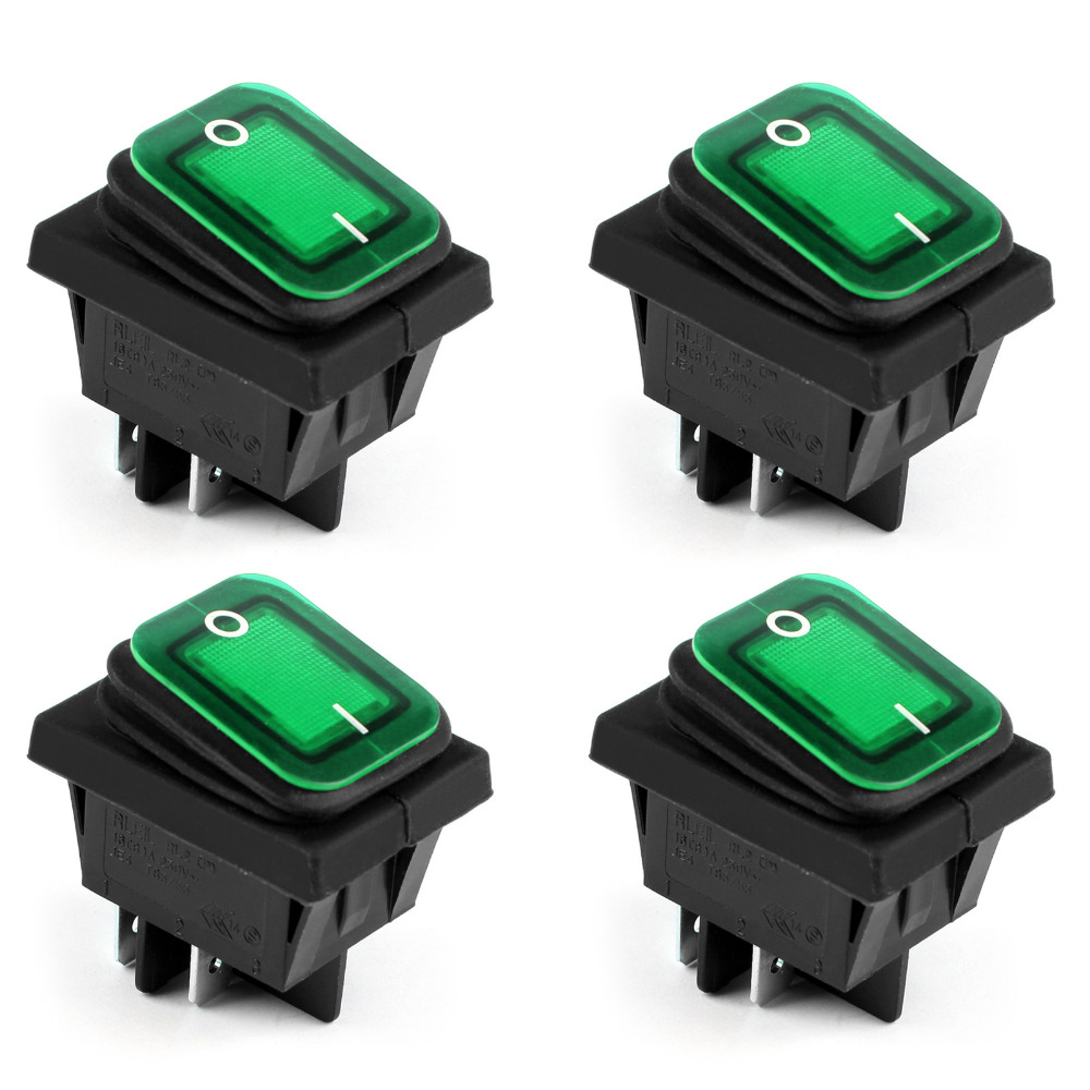 RL2-102 Rocker Switch Waterproof IP65 Boat Car Rocker Switch 4Pin ON/OFF 24V 10A 4PCS Green New Arrival Rocker Switches on the open shanghai wing star ship switch kcd6 21n f ip65 waterproof switch 6a 4 foot red 220v