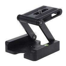 Z flex tilt tripé cabeça liga de alumínio dobrável z tilt cabeça placa liberação rápida suporte de montagem nível espírito para telefones câmera