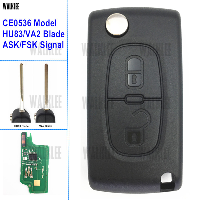WALKLEE 2 Buttons Remote Key Suit for Peugeot 207 208 307 308 408 Partner CE0536 Model HU83/VA2 Blade ASK/FSK Signal