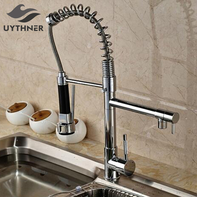 Chrome Kitchen Faucet Deck Mounted Single Handle Hole Dual Spouts Faucet With Handheld Dual Spouts Hot and cold water