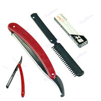 Disposable with 10 Replacement Blades Reusable Straight   Razor   Plastic Handle