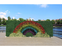 ULAND Artificial Grass Rainbow Pattern Wall Hanging Faux Boxwood Hedge Plant Greenery Panel Mat Home Party