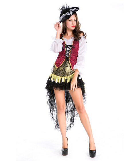cosplay party pirates of the Caribbean clothes dress+hat+vest women sexy uniform adult carnival halloween costume dress&headwear