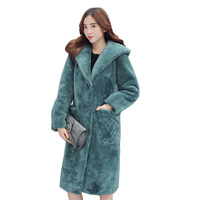 Korean fur coat Winter New women's long section hooded coat women over knee padded jacket Korean fur coat